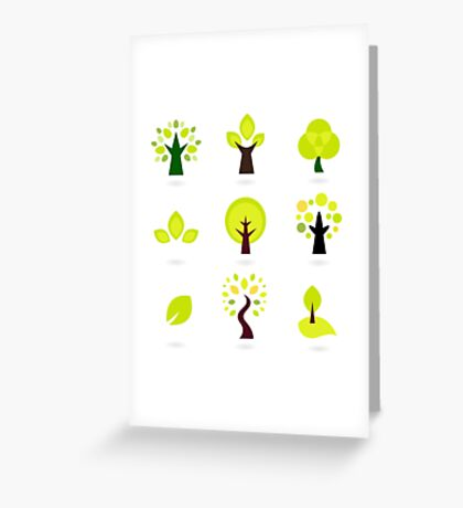 Trees green art collection. New art arrival in shop Greeting Card