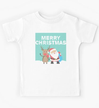 Merry Christmas - Knitted Style Xmas Ugly Shirt Kids Tee