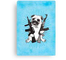 BAD dog – blue armed pug Canvas Print