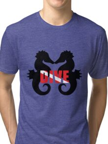 Seahorse scuba diving Tri-blend T-Shirt