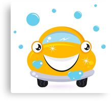 Car wash services, yellow cartoon auto Canvas Print