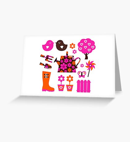 Spring and gardening icons set / new floral artwork Greeting Card