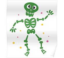 Funny Skeleton isolated on white. Cartoon illustration / Dark green art Poster