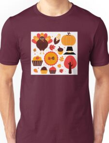 Thanksgiving items set. Vector Illustration Unisex T-Shirt