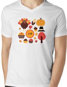 Thanksgiving items set. Vector Illustration Mens V-Neck T-Shirt