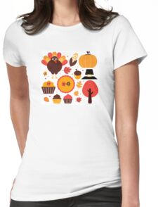 Thanksgiving items set. Vector Illustration Womens Fitted T-Shirt