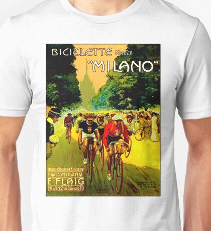 MILANO VINTAGE; Bicycle Racing Advertising Print Unisex T-Shirt