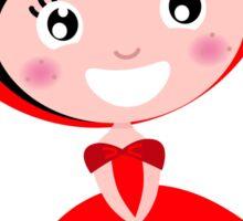 Cartoon red riding hood. Illustration / Wild red and black art Sticker
