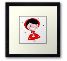 Cartoon red riding hood. Illustration / Wild red and black art Framed Print