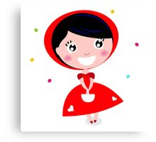 Cartoon red riding hood. Illustration / Wild red and black art Canvas Print