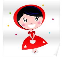 Cartoon red riding hood. Illustration / Wild red and black art Poster