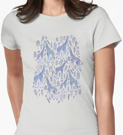 Blue Giraffe Pattern Womens Fitted T-Shirt