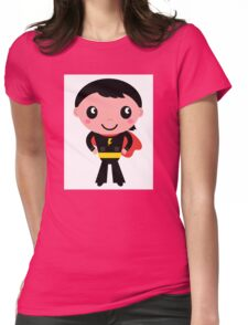 Cute young Super hero boy. Vector Illustration Womens Fitted T-Shirt