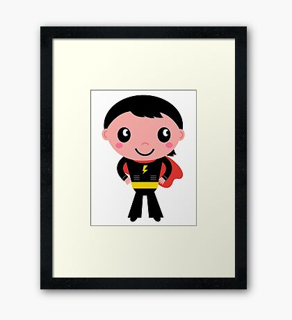 Cute young Super hero boy. Vector Illustration Framed Print