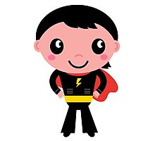 Cute young Super hero boy. Vector Illustration Photographic Print