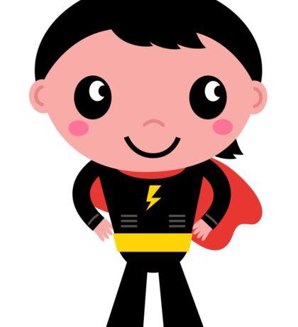 Cute young Super hero boy. Vector Illustration Sticker