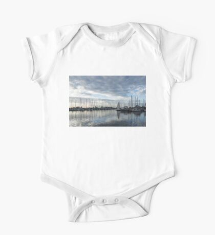 Soft Silver Morning - Reflecting on Sails and Yachts One Piece - Short Sleeve