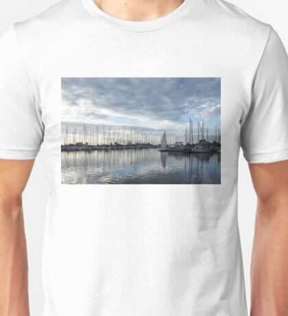 Soft Silver Morning - Reflecting on Sails and Yachts Unisex T-Shirt