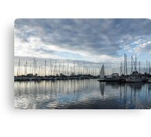 Soft Silver Morning - Reflecting on Sails and Yachts Canvas Print