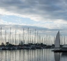 Soft Silver Morning - Reflecting on Sails and Yachts Sticker
