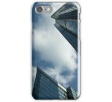 Skyscrapers view from below on a sunny day. Blue sky and clouds. iPhone Case/Skin