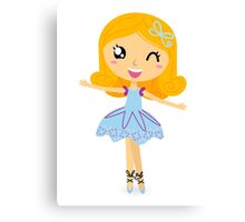 Cute dancing little ballerina girl. Vector Illustration Canvas Print