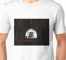 Photograph of walkers in a tunnel, Peak district, Hiking, walk towards the light. Unisex T-Shirt