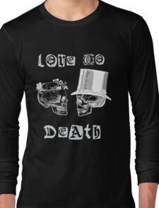 Skulls Love To Death Vintage Dictionary Art Long Sleeve T-Shirt