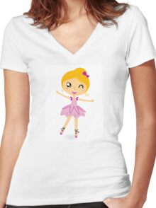 Blond ballet girl in pink costume isolated on white Women's Fitted V-Neck T-Shirt