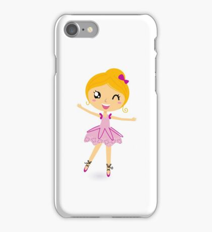 Blond ballet girl in pink costume isolated on white iPhone Case/Skin