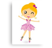 Blond ballet girl in pink costume isolated on white Canvas Print