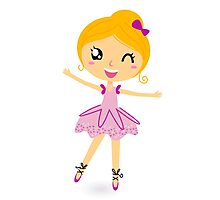 Blond ballet girl in pink costume isolated on white Photographic Print