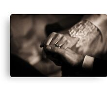 Bride and groom couple man and woman holding hands in marriage wedding black and white sepia tone silver gelatin 35mm negative film photo Canvas Print