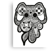 Games Console Zentangle BLACK & WHITE Canvas Print