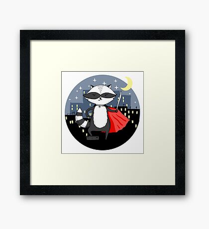 Raccoon superhero Framed Print