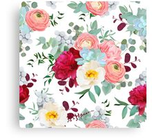 Autumn mixed bouquets of peony, ranunculus, succulents, wild rose, carnation, brunia and eucaliptus leaves Canvas Print