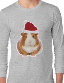 Christmas Guinea pig in Santa's hat Long Sleeve T-Shirt