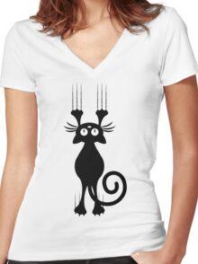 Cute Cartoon Black Cat Scratching Women's Fitted V-Neck T-Shirt