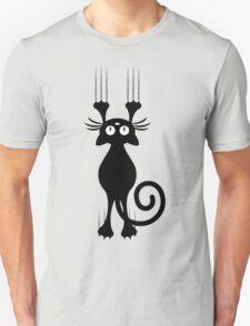 Cute Cartoon Black Cat Scratching Unisex T-Shirt