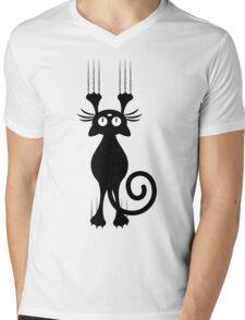 Cute Cartoon Black Cat Scratching Mens V-Neck T-Shirt