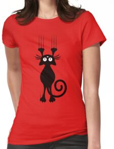 Cute Cartoon Black Cat Scratching Womens Fitted T-Shirt