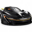 Black McLaren P1 plug-in hybrid supercar sports car isolated art photo print by ArtNudePhotos