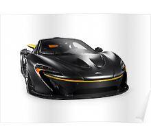 Black McLaren P1 plug-in hybrid supercar sports car isolated art photo print Poster