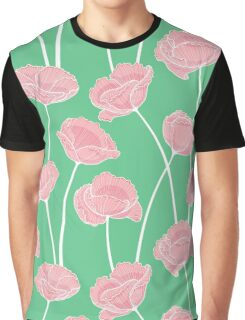Red flowers on green Graphic T-Shirt