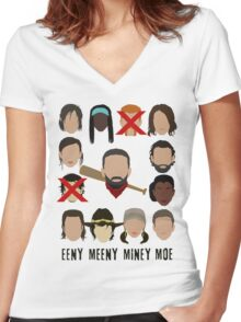 Negan - Eeny Many Moe Women's Fitted V-Neck T-Shirt