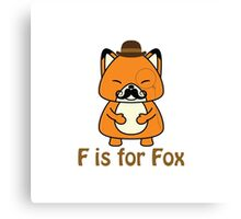 F is for fox Canvas Print