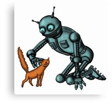Funny Robot with Cat cartoon drawing art Canvas Print
