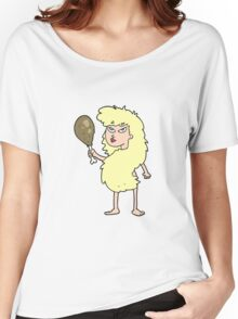 cartoon cavewoman with meat Women's Relaxed Fit T-Shirt