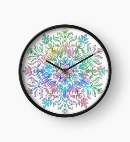 Nature Mandala in Rainbow Hues Clock