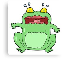 cartoon funny frightened frog Canvas Print